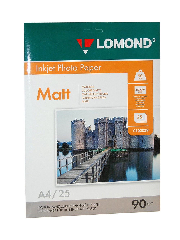 Фотобумага А4 Lomond, 90 г/кв.м, 1 ст., матовая, 25л.