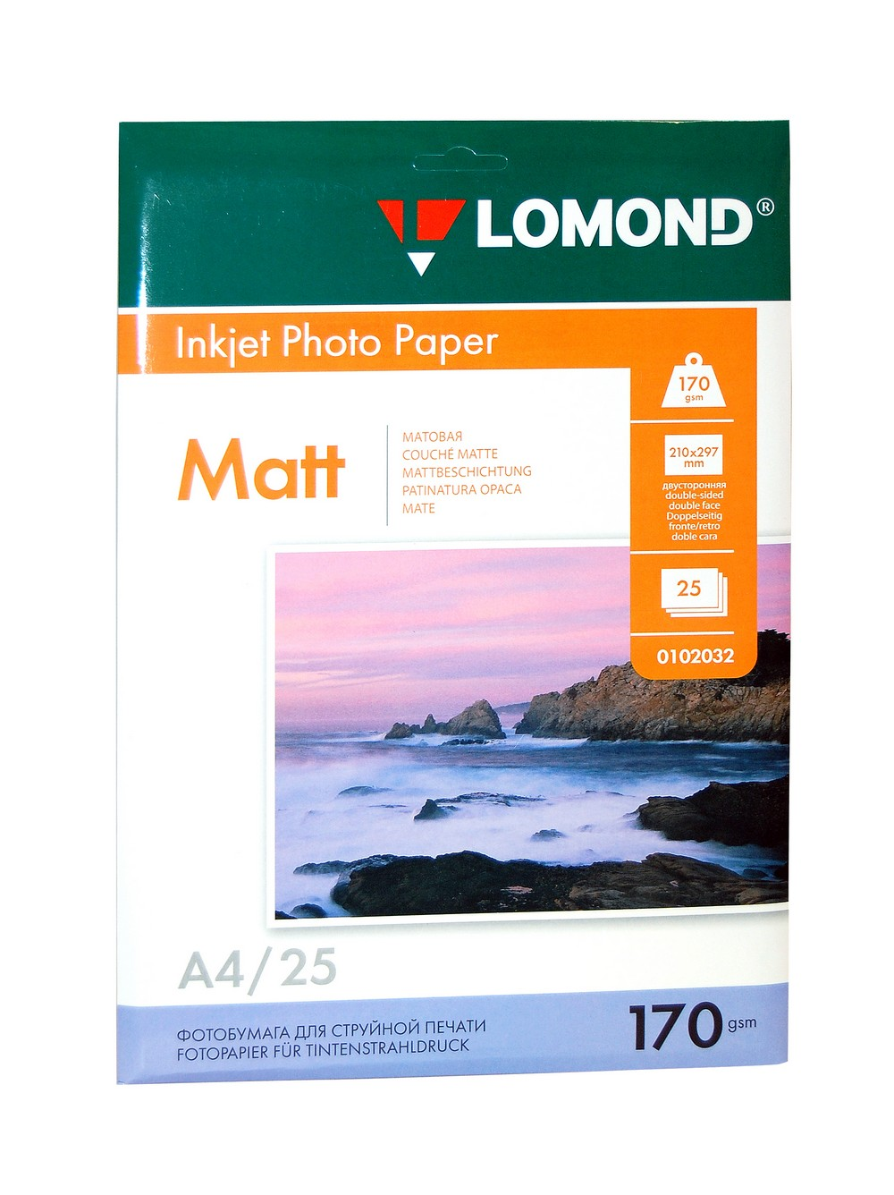 Фотобумага А4 Lomond, 170 г/кв.м, 2 ст., матовая,25л