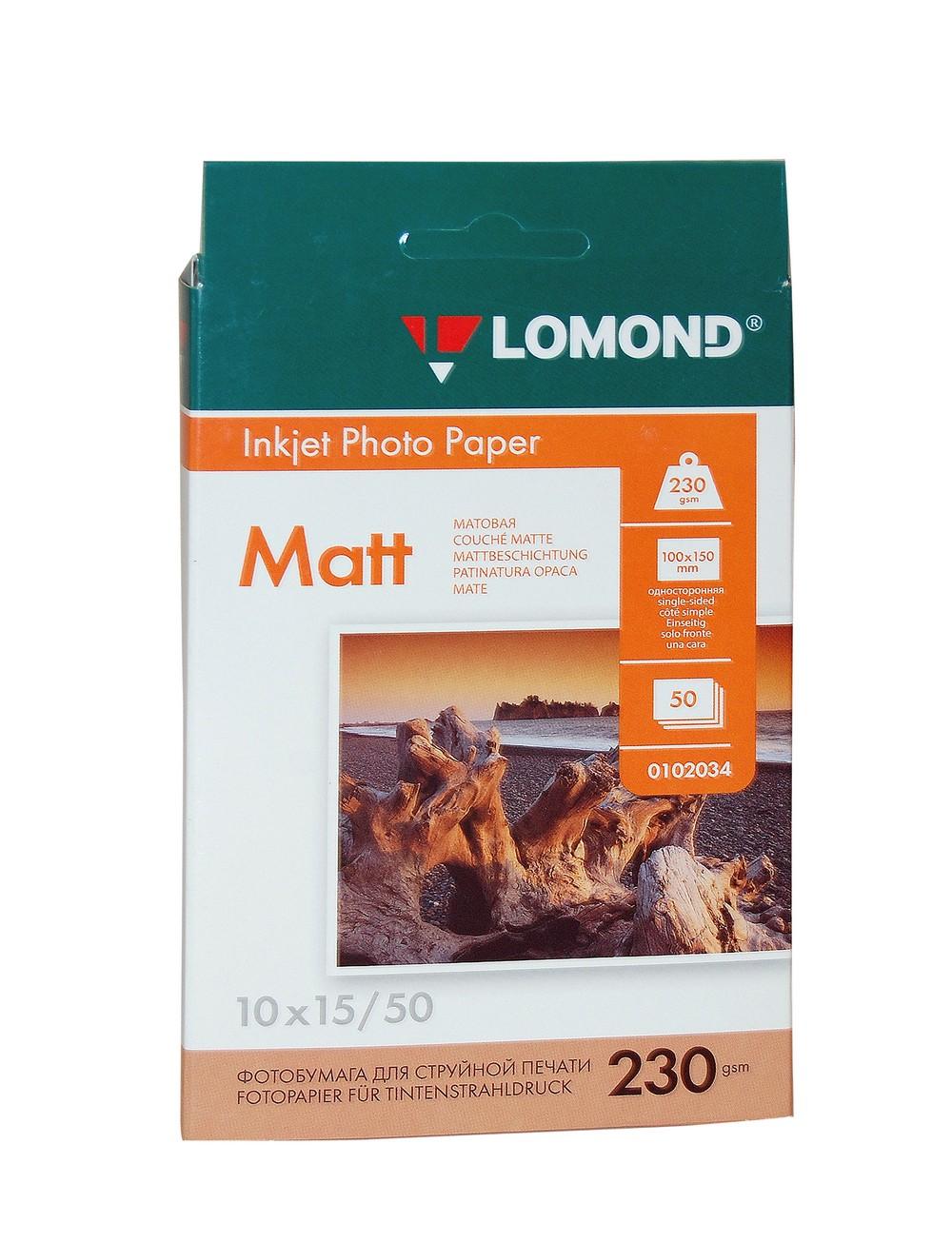 Фотобумага 10*15 см. Lomond, 230 г/кв.м, 1 ст., матовая,50л