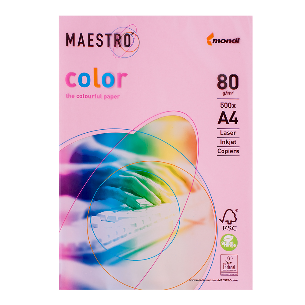 Бумага А4 Maestro Color PI25 Pink розовый