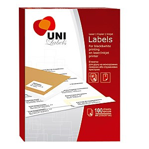 Наклейки А4, Uni Labels, 4 на листе, 105*148,5   офсет
