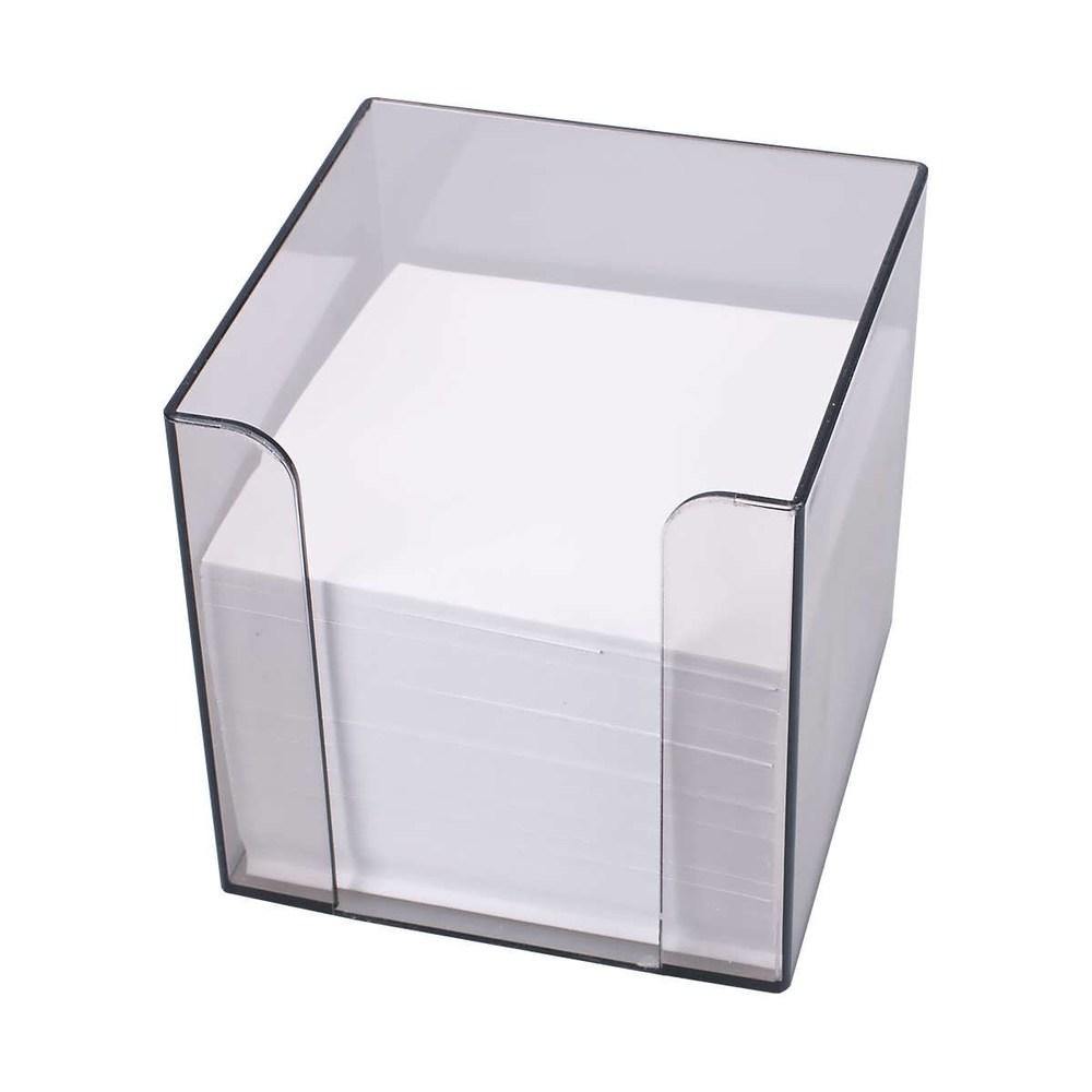 Блок-куб, дымчатый пластиковый бокс 90*90*90 с бумагой 1000л