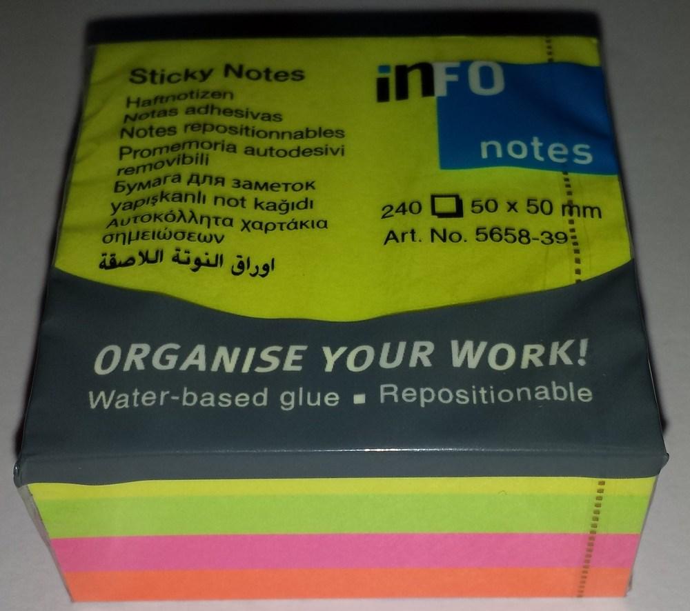 Блок клейкий  INFO  50*50 240 л.  brilliant-mix (радуга),  art. 5658-39