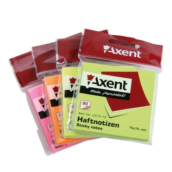 Блок клейкий Axent 75x75мм 80л, зеленый, неон