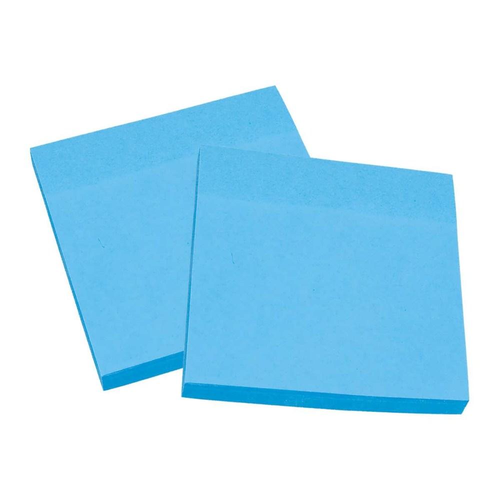 Блок клейкий  75*75 100 л, голубой неон