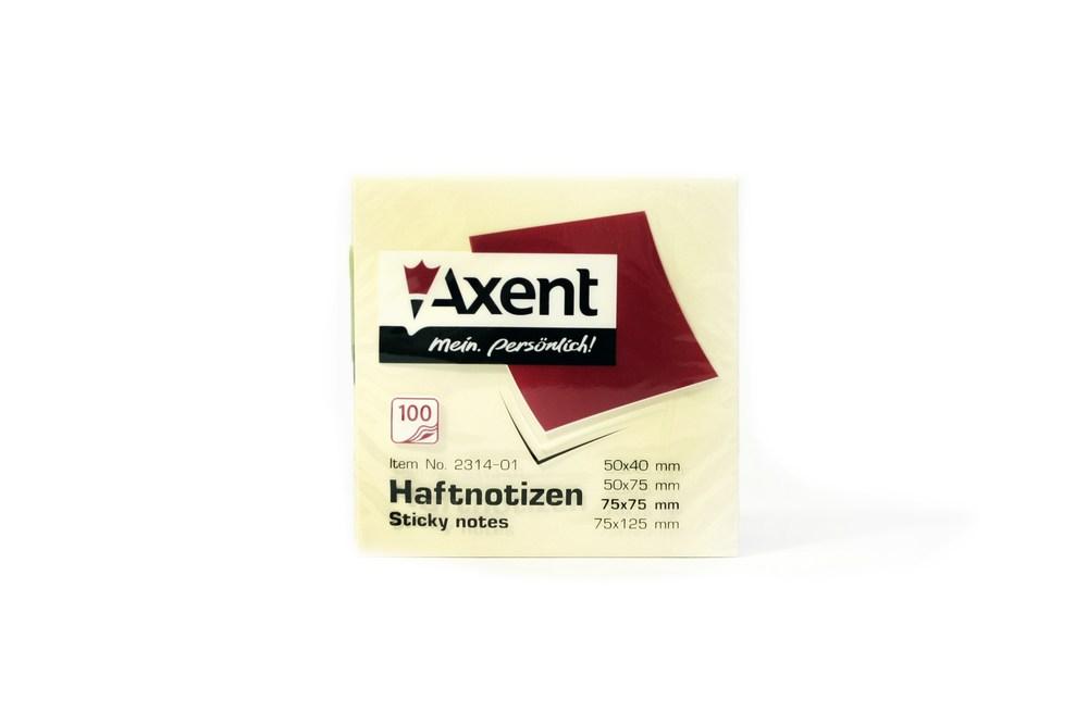 Блок клейкий Axent 75x75мм 100л, желтый