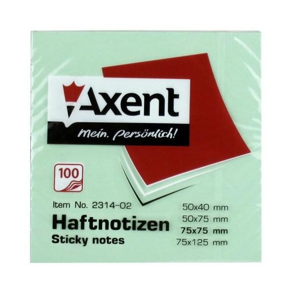Блок клейкий Axent 75x75мм 100л, зеленый