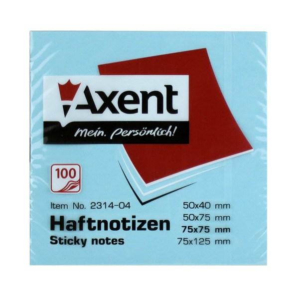 Блок клейкий Axent 75x75мм 100л, голубой