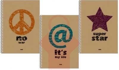 Блокнот В6, спираль, 120л.,б/линовки,крафт картон, Student 959