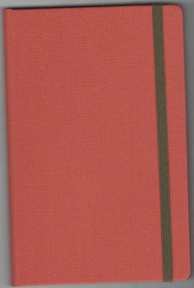 Записная книжка А5 (130х202), 128 стр.,крем, линия ,обл. баладек Nomad оранжевый, на резинке