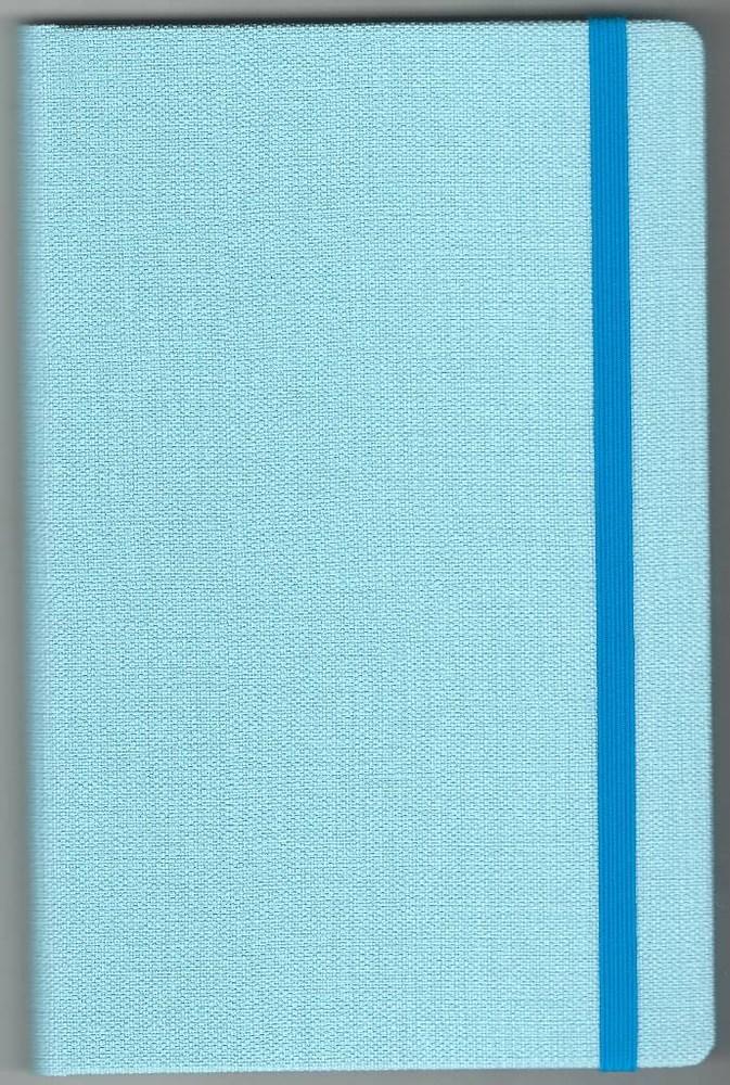 Записная книжка А5 (130х202), 128 стр.,крем, линия ,обл. баладек Nomad голубой пастель, на резинке