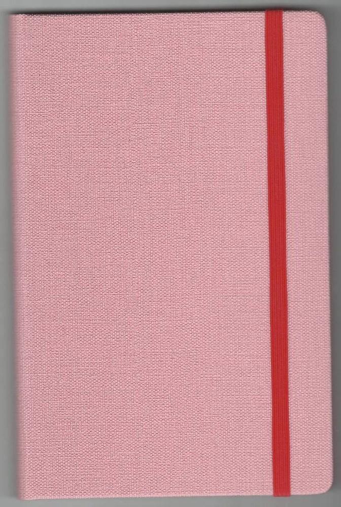 Записная книжка А5 (130х202), 128 стр.,крем, линия ,обл. баладек Nomad розовый пастель, на резинке