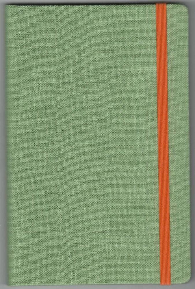 Записная книжка А5 (130х202), 128 стр.,крем, линия ,обл. баладек Nomad салатовый, на резинке