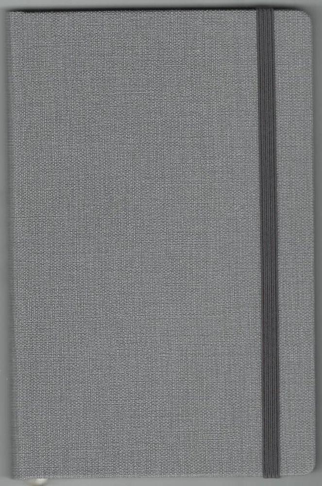 Записная книжка А5 (130х202), 128 стр.,крем, линия ,обл. баладек Nomad серый, на резинке
