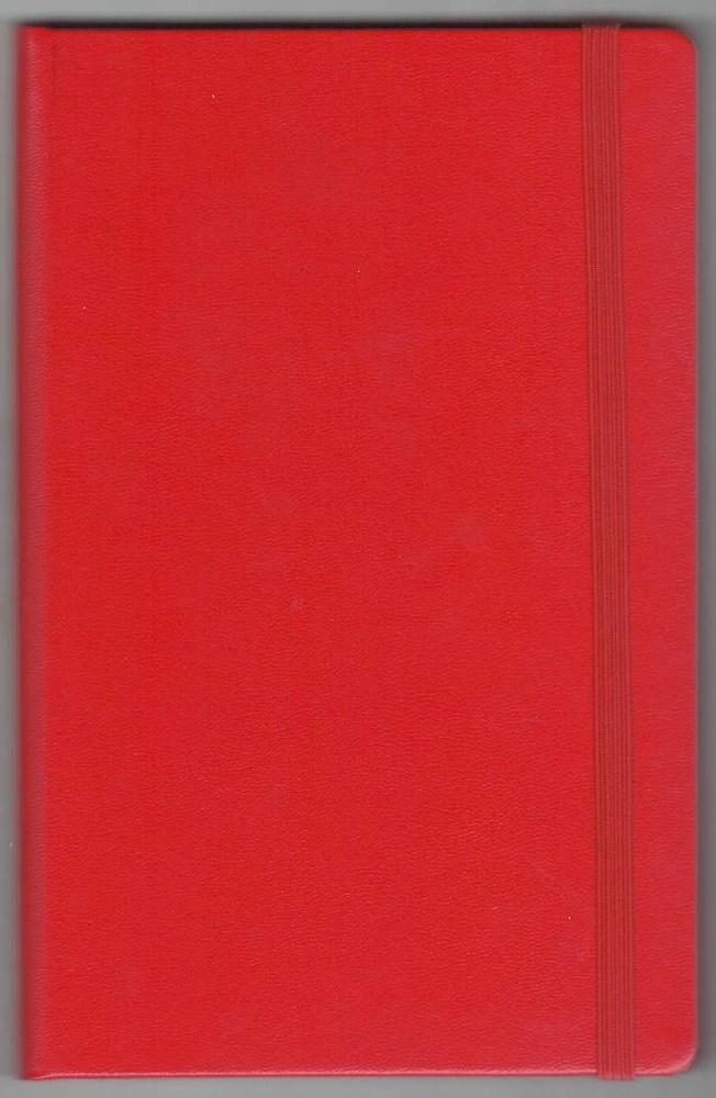 Записная книжка А5 (130х202), 128 стр.,белый блок, линия, баладек красный , на резинке