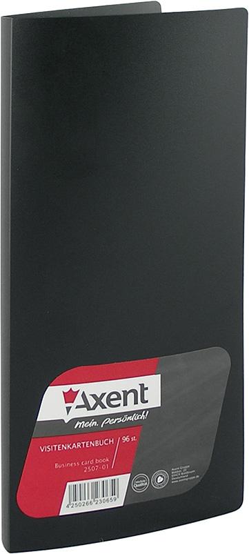 Визитница на 96 визиток, пластик, черная Axent