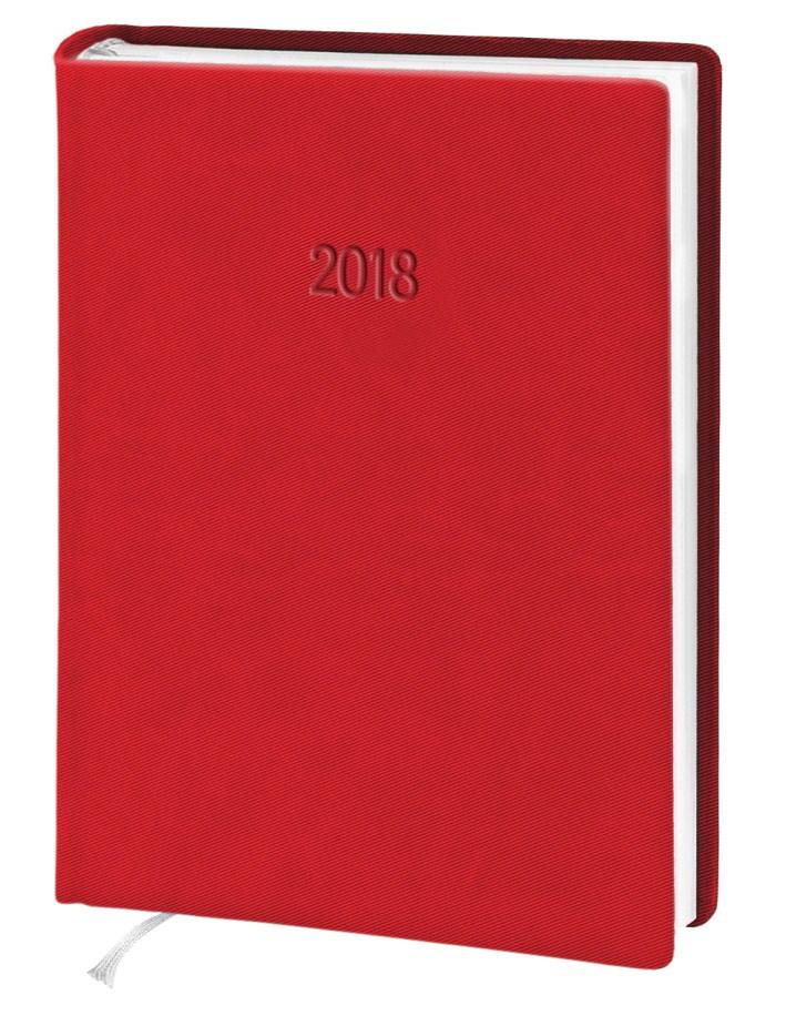 Ежедневник стандарт Twill  кожзам красный 2018