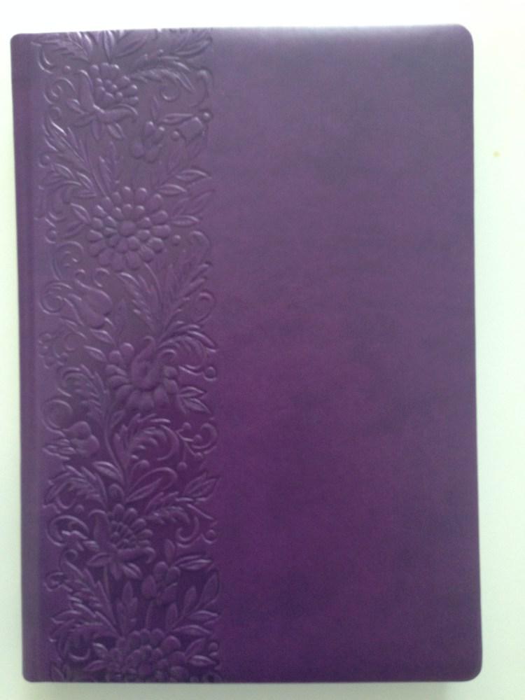 Деловой дневник недатир. А5(143*202), 128л, клетка,блок,исскуст.кожа, фиолетовый