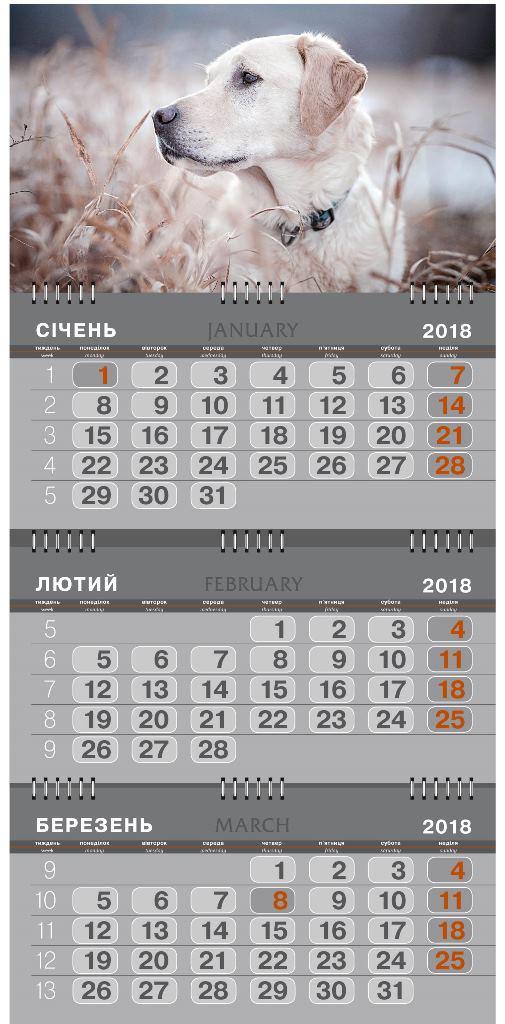 Календарь настенный кварт.на 3 спир., Ретривер (большой) 2018г.