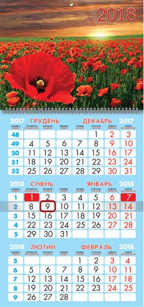 Календарь настенный кварт. спираль 25*52см  Маки 2018