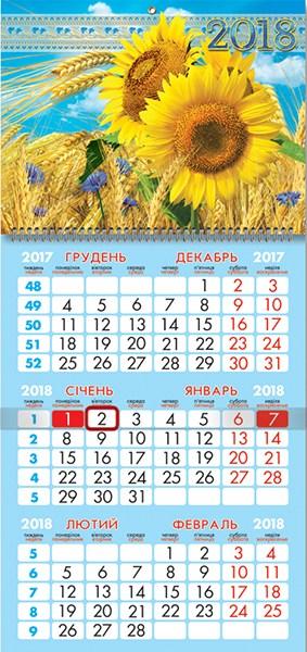 Календарь настенный кварт. спираль 25*52см Подсолнухи 2018