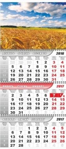 Календарь настенный кварт. 3 спир. с картинками Поле (эконом + на 3-х пружинах) 2017