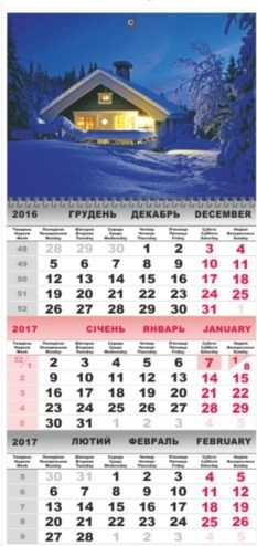 Календарь настенный кварт. 1 спир. с картинками Домик  2017