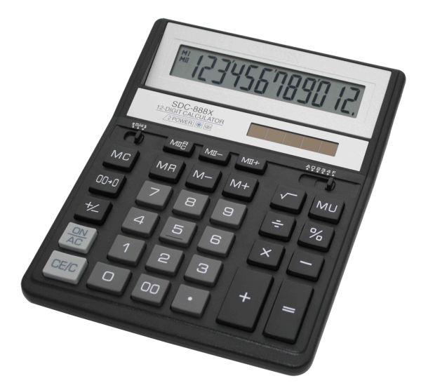 Калькулятор Citizen SDC-888 XBK, новый дизайн, черный