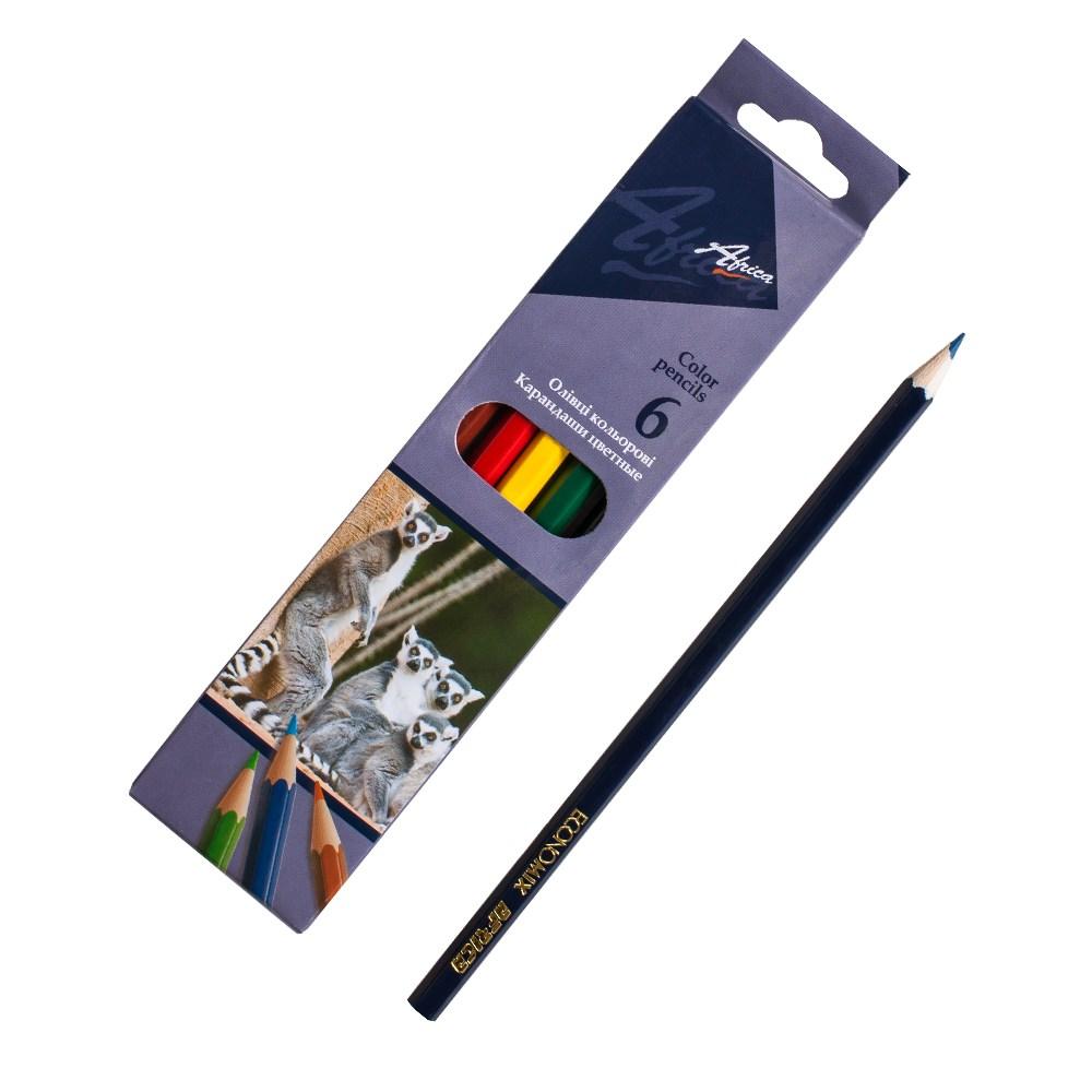Карандаши цветные длинные Africa NEW 6 цветов