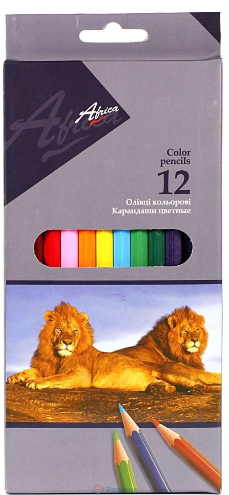 Карандаши цветные длинные Africa NEW 12 цветов