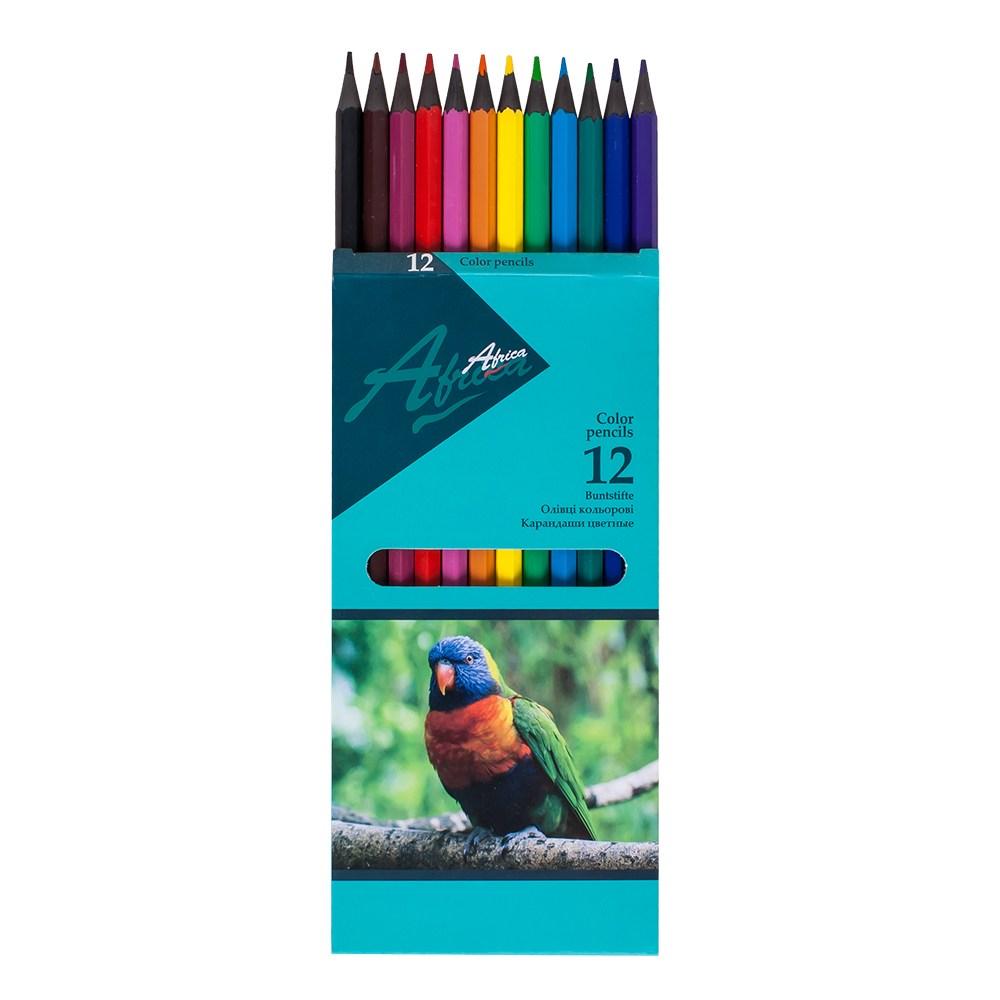 Карандаши цветные пластиковые Africa NEW 12 цветов