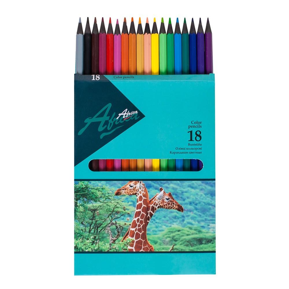 Карандаши цветные пластиковые Africa NEW 18 цветов
