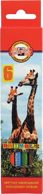 Карандаши цветные длинные Зоопарк 6 цветов