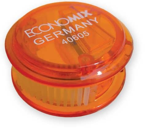 Точилка пластик с контейн., круглая, ассорти