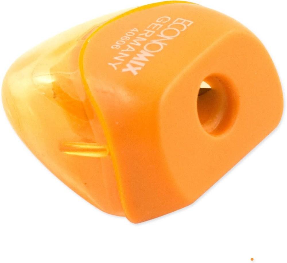 Точилка пластик с контейн., треуг., ассорти