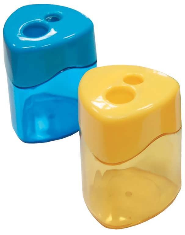 Точилка пластик с контейн. треуг., 2 лезвия, ассорти