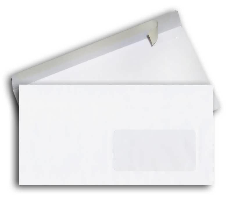 Конверт 220*110, белый, СКЛ, окно, 0+0, кл. прямой