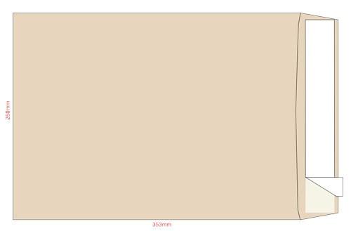 Конверт 353*250, крафт, СКЛ, 0+0, с расшир., кл. боковой
