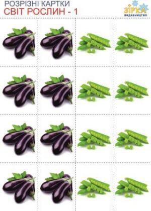 Разрезные карточки Овощи ,комплект