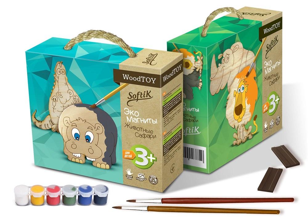 Набор для творчества серии WoodToy Экомагниты Бегемот и Крокодил