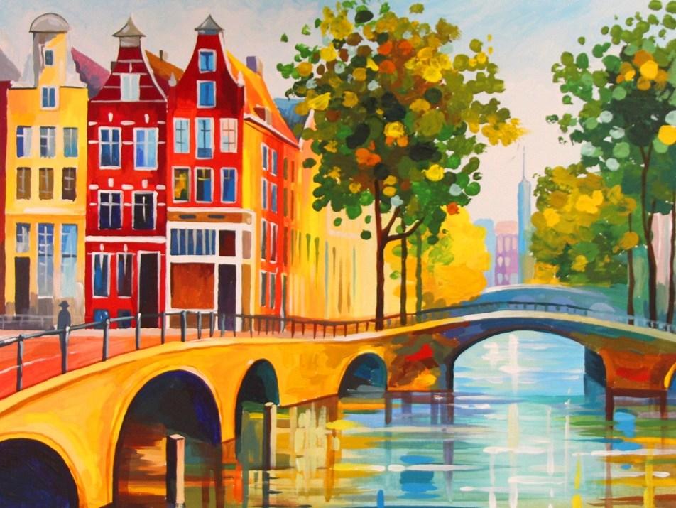 Полотно на картоні з контуром, Міста Амстердам, 30*40, бавовна, акрил, ROSA START