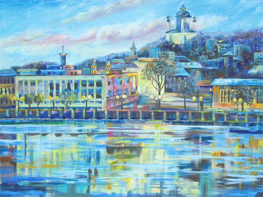 Полотно на картоні з контуром, Міста,  Київ, 30*40, бавовна, акрил, ROSA START