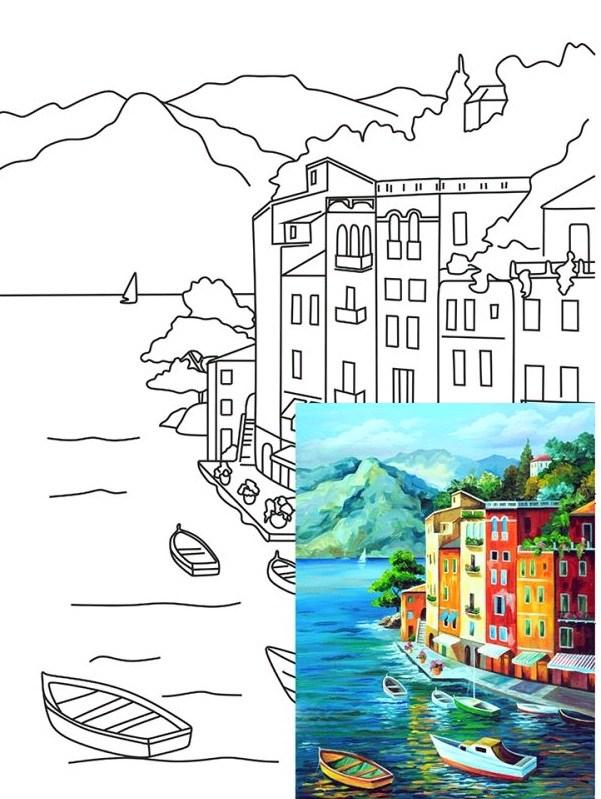 Полотно на картоні з контуром, Морські пейзажі №1, 30*40, бавовна, акрил, ROSA START