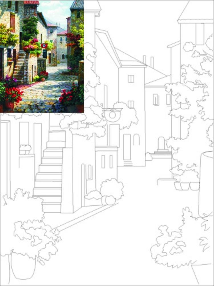 Полотно на картоні з контуром, Пейзаж № 1, 30*40, бавовна, акрил, ROSA START