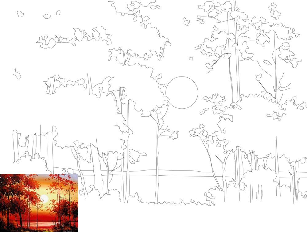 Полотно на картоні з контуром, Пейзаж №11, 30*40, бавовна, акрил, ROSA START