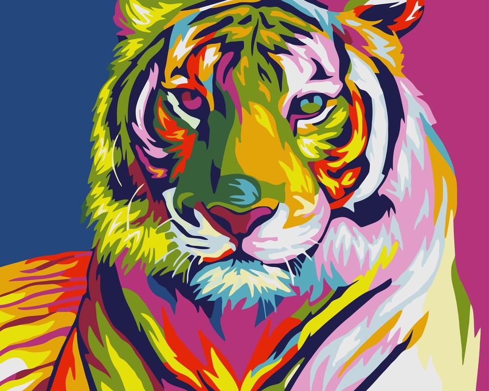 Картины по номерам/обложка. Животные, птицы . 40*50. Тигр поп-арт