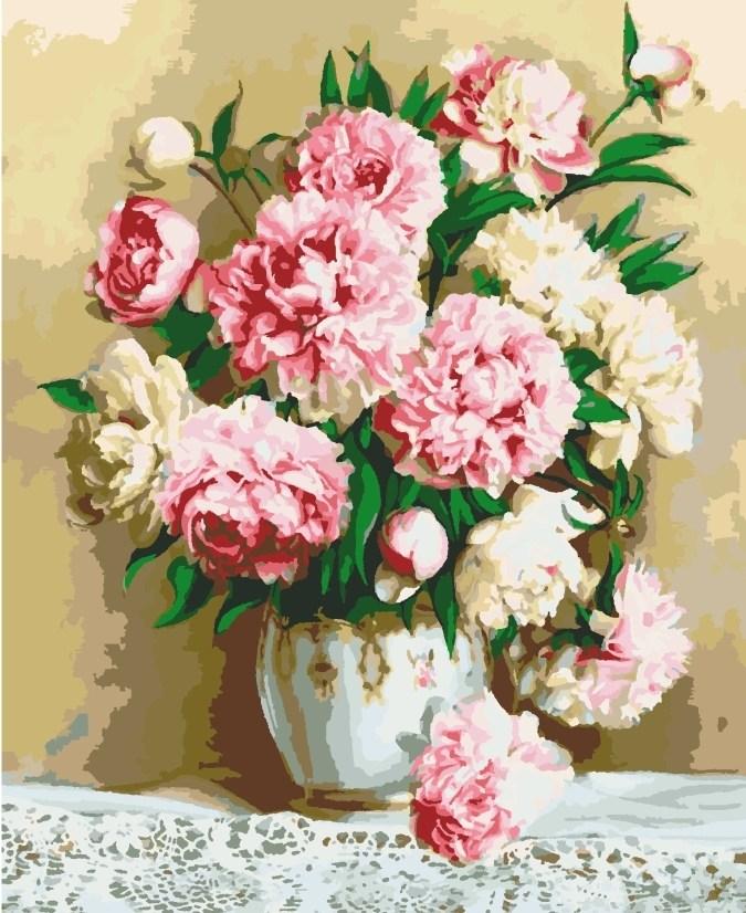 Картины по номерам/ коробка. Цветы. Благородные пионы  40*50