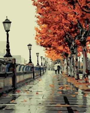 Картины по номерам/ коробка. Городской пейзаж. Осенний сквер  40*50