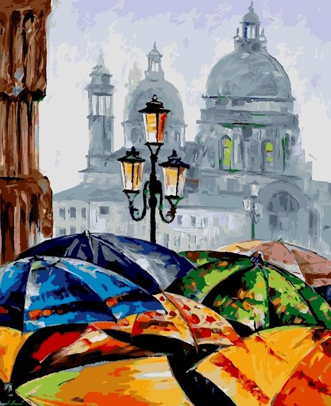 Картины по номерам/коробка. Городской пейзаж. Яркие зонтики 40*50