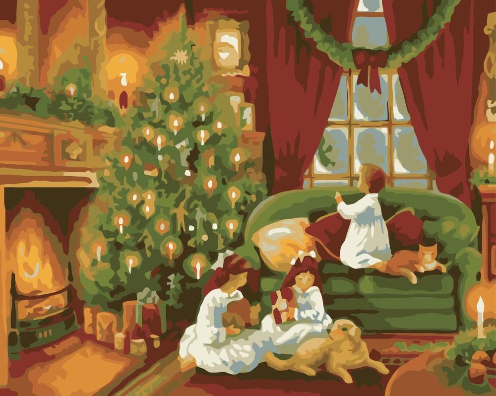 Картины по номерам/ коробка. Деревенский пейзаж. Рождественская ночь 40*50